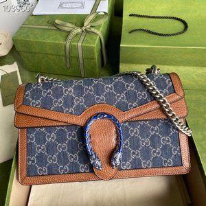 Gucci Dionysus denim blue shoulder bag   28x17x9cm